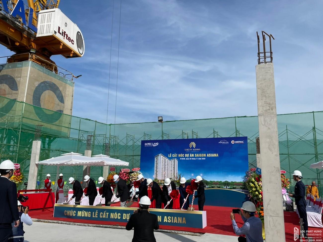 Lễ cất nóc dự án căn hộ chung cư Saigon Asiana Quận 6 tháng 12/2020 Đường Nguyễn Văn Luông chủ đầu tư Gotec Land