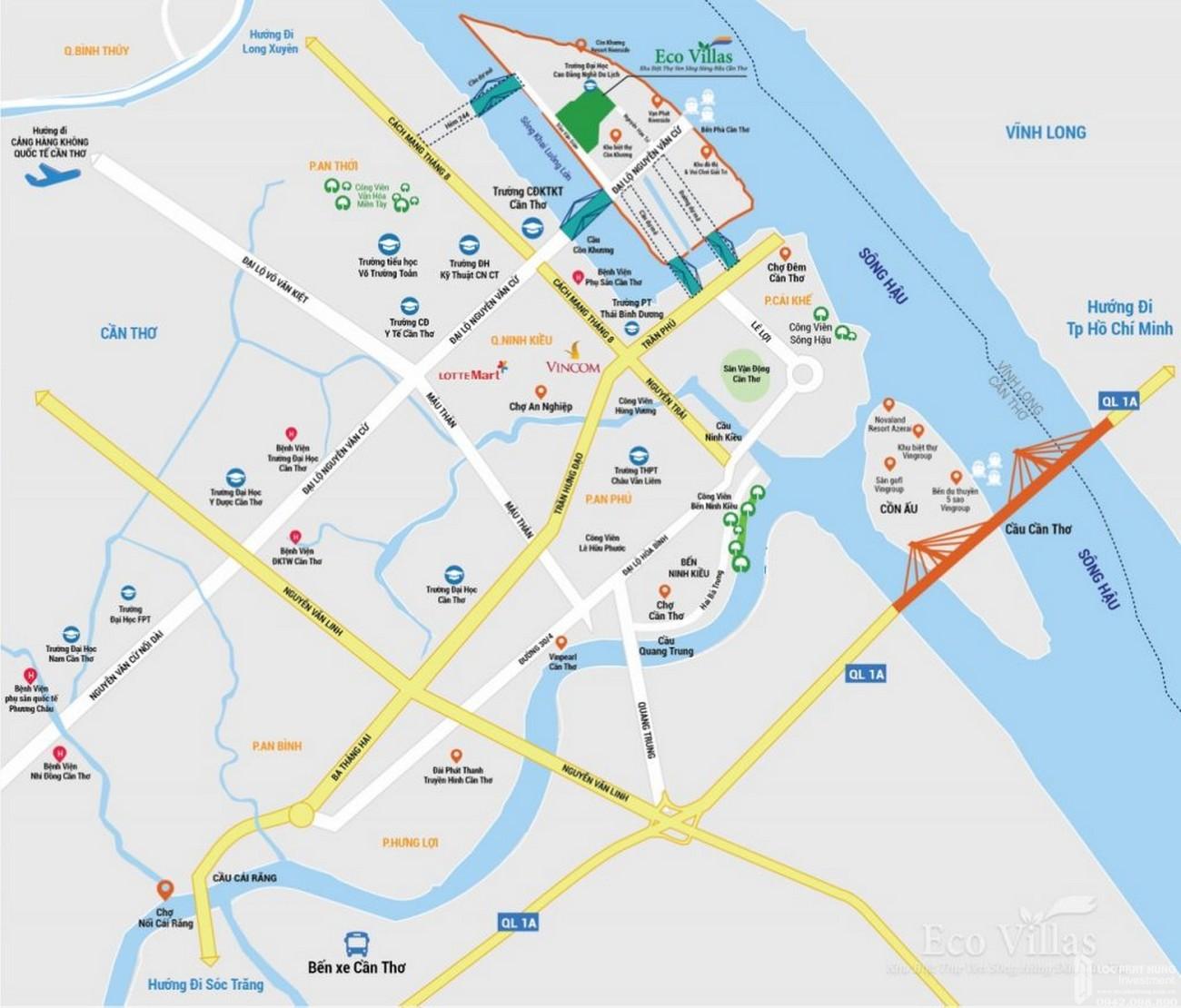 Vị trí địa chỉ dự án đất nền nhà phố Eco Villas Cồn Khương Cần Thơ Đường Cồn Khương chủ đầu tư Cửu Long