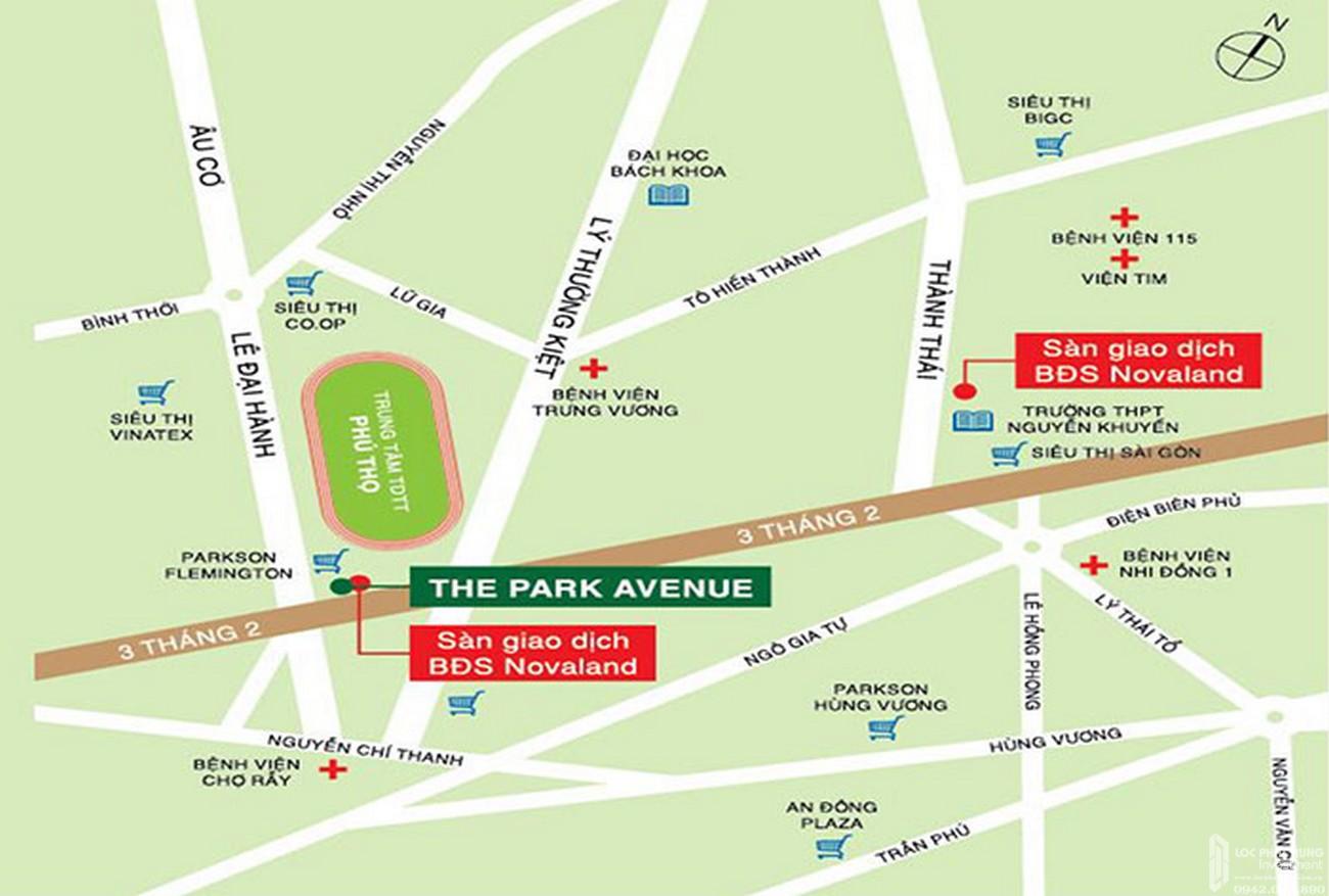 Vị trí địa chỉ dự án căn hộ chung cư The Park Avenue Quận 11 Đường Lê Đại Hành chủ đầu tư Novaland