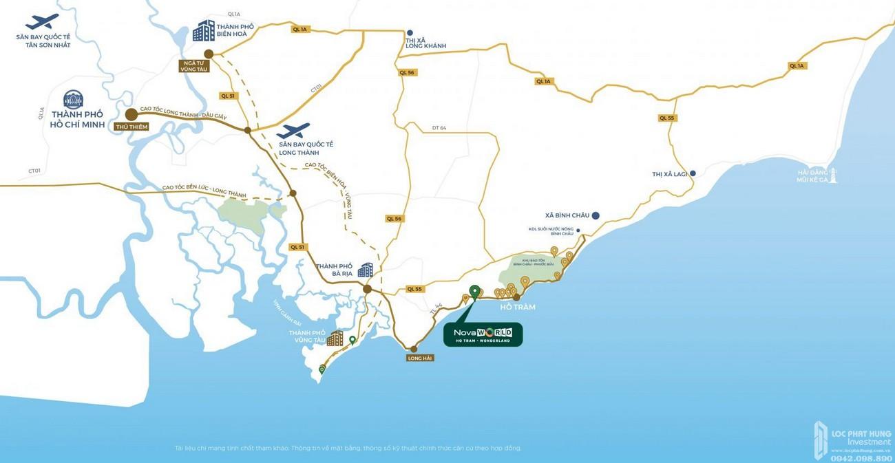 Vị trí địa chỉ dự án nhà phố Novaworld Hồ Tràm Wonderland Xuyên Mộc Đường Phước Thuận chủ đầu tư Novaland