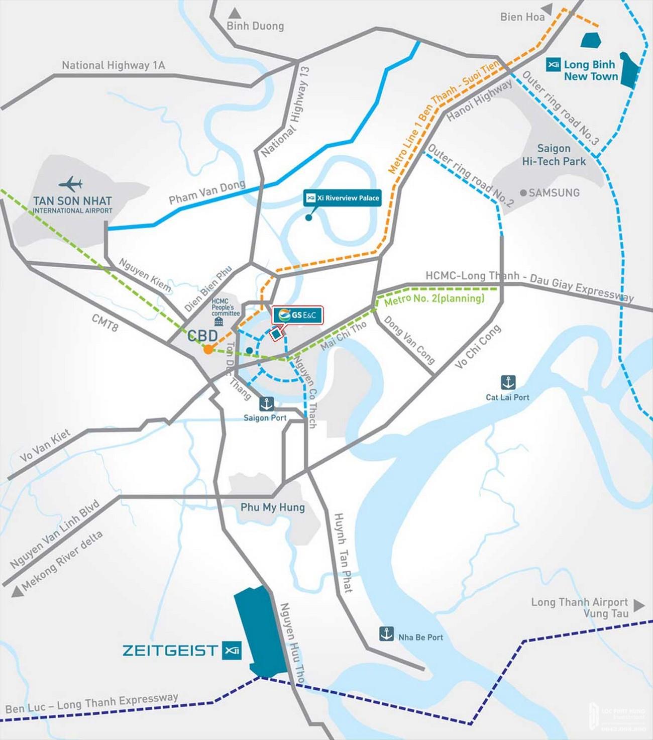 Vị trí địa chỉ dự án căn hộ chung cư Thủ Thiêm Zeit Quận 2 Đường Nguyễn Cơ Thạch chủ đầu tư GS E&C