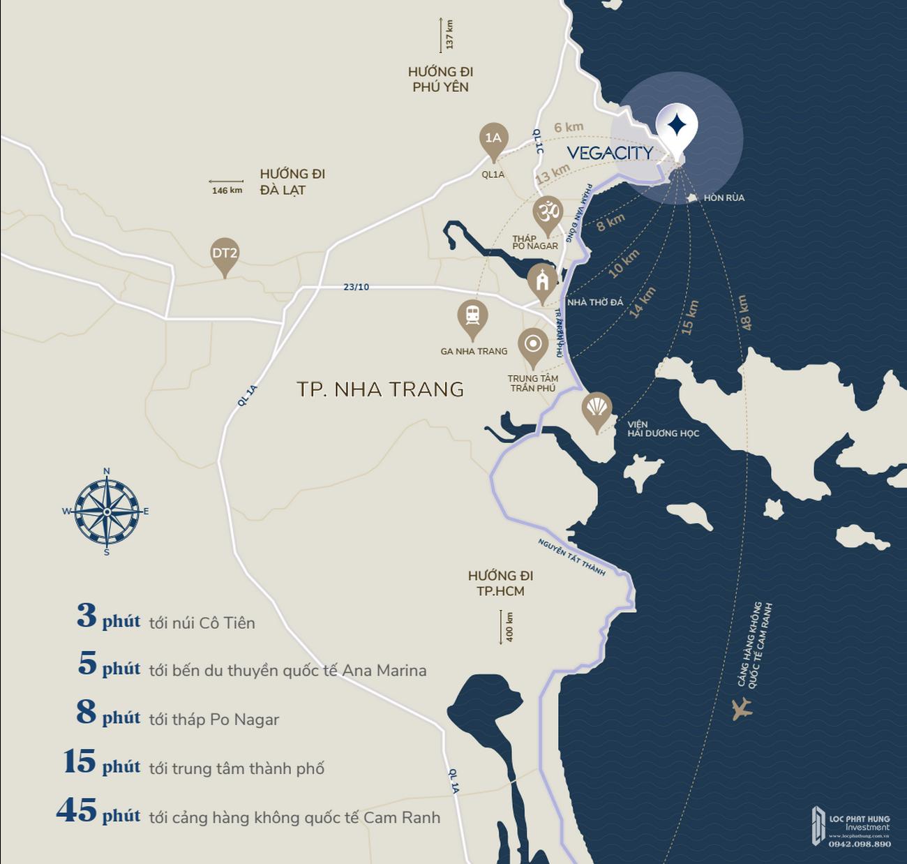 Vị trí dự án Biệt thự, nhà phố Vega City Bãi Tiên Nha Trang chủ đầu tư KDI Holdings
