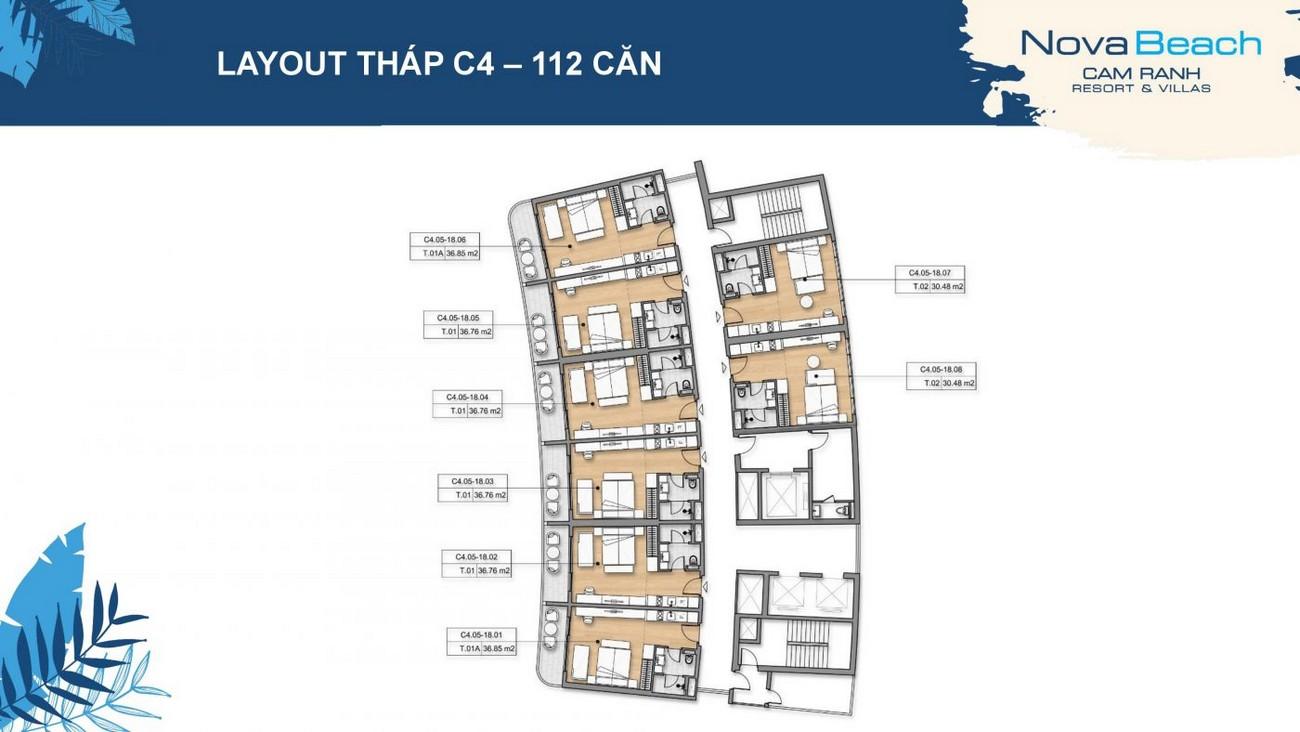 Layout tháp C4 dự án NovaBeach Cam Ranh