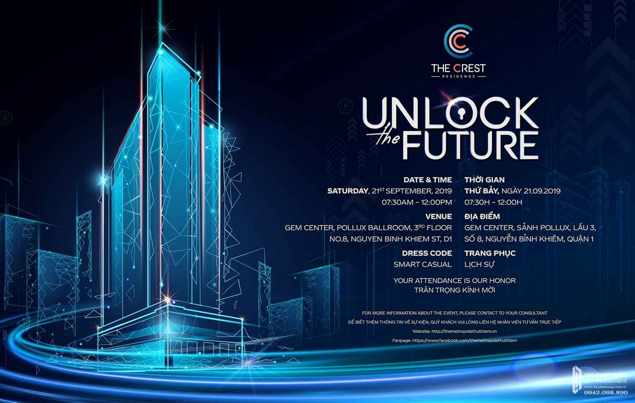 Lịch mở bán The Crest Residence Unlock The Future