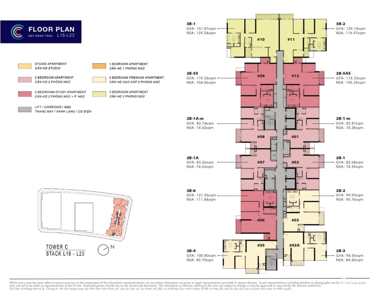 Mặt bằng dự án The Crest Residence nhà phát triển Kim Son Land