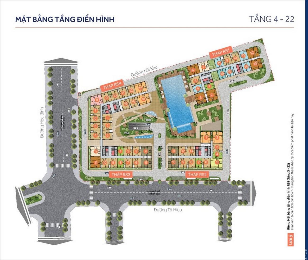 Mặt bằng dự án căn hộ chung cư RichStar Tân Phú Đường 278 Hòa Bình chủ đầu tư Novaland