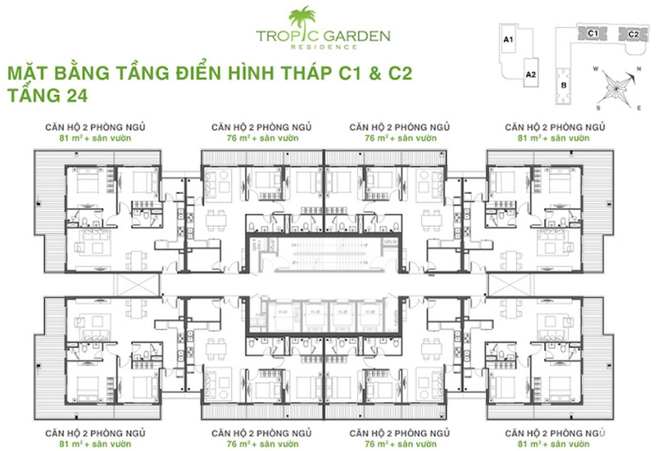 Mặt bằng dự án căn hộ chung cư Tropic Garden Quận 2 Đường 66 chủ đầu tư Novaland