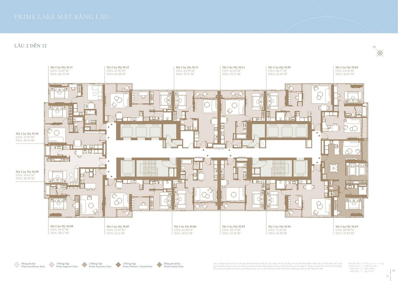 Mặt bằng tầng 2-12 tòa Lake dự án Grand Marina SaiGon