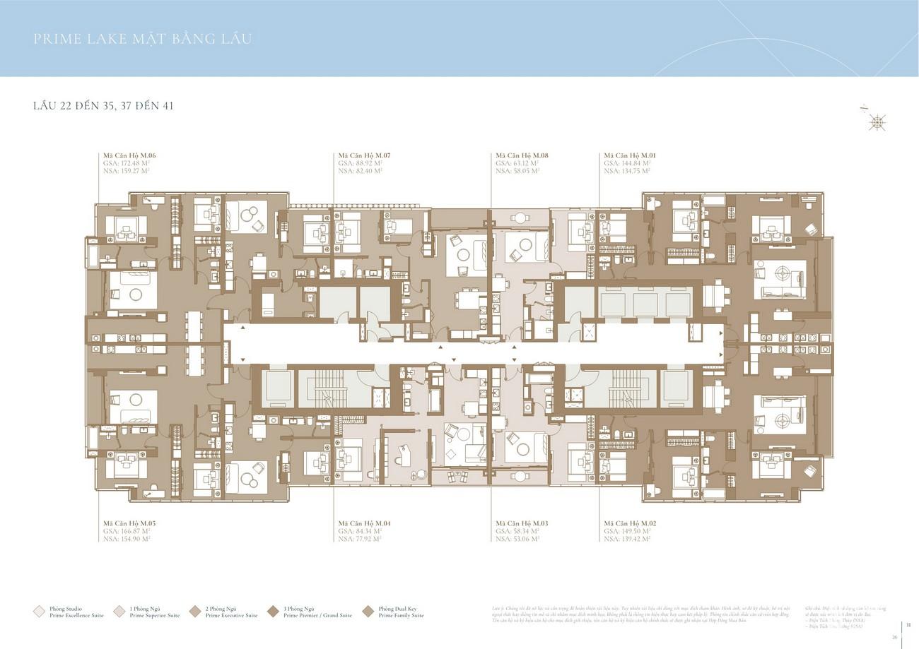 Mặt bằng tầng 22-35, 37-41 tòa Lake dự án Grand Marina SaiGon