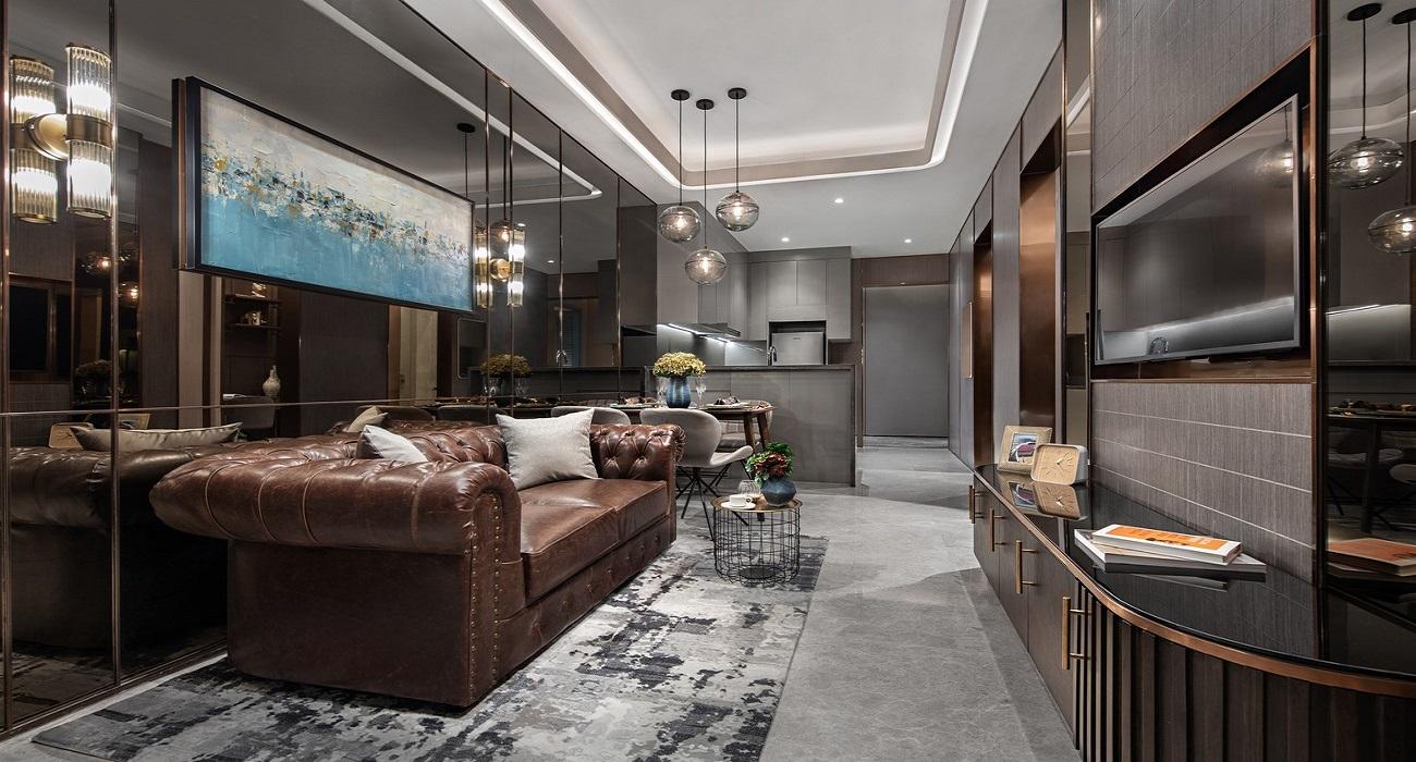 Phòng khách căn hộ Goldora Plaza Nhà Bè