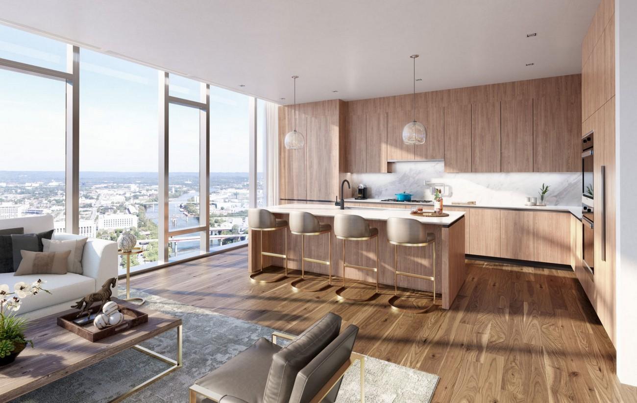 Phòng khách & Bếp nhà mẫu dự án căn hộ chung cư Masterise Grand Marina Quận 1