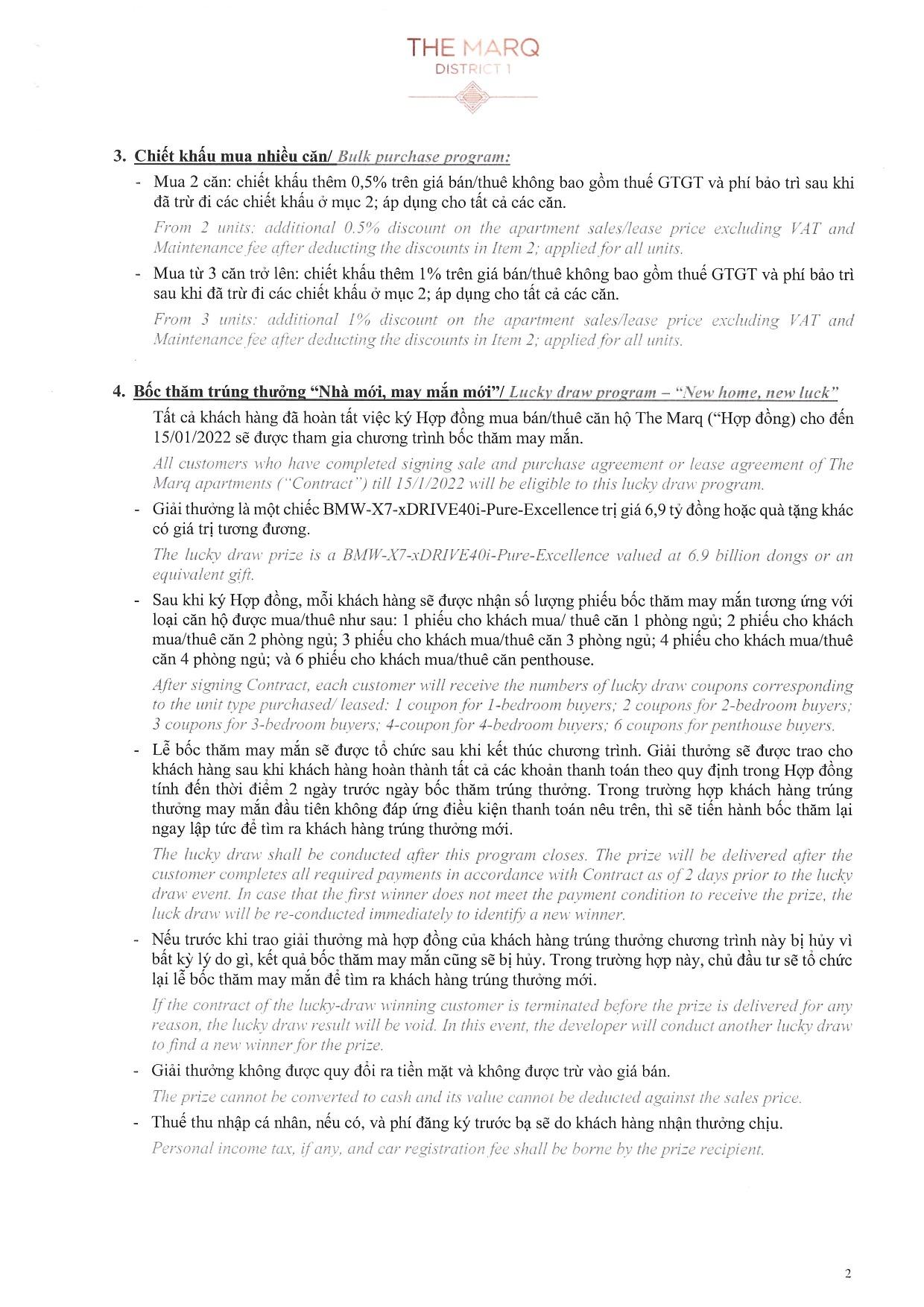 Chính sách ưu đãi & Thanh toán The Marq Quận 1