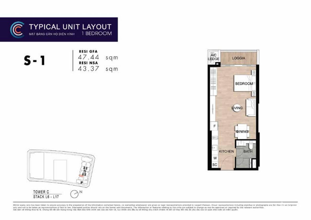 Thiết kế căn hộ 1 PN 1S