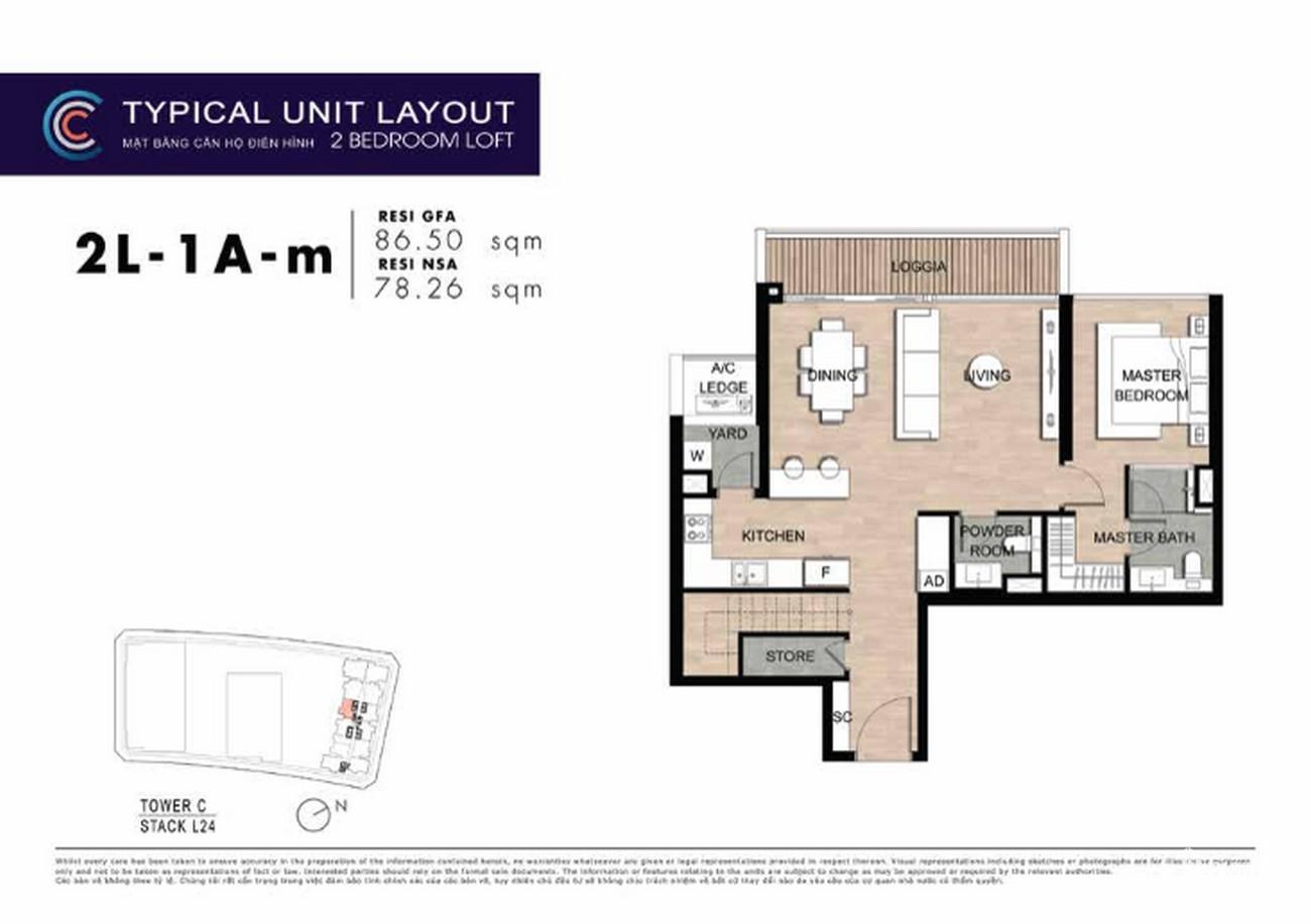 Thiết kế căn hộ 2PN 1A-m