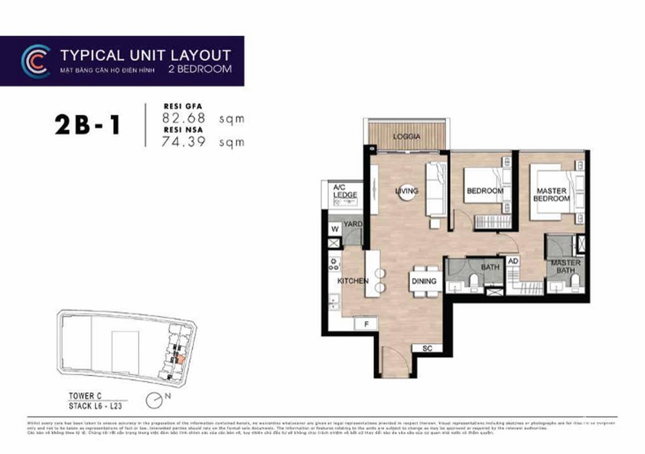 Thiết kế căn hộ 2PN 2B-1