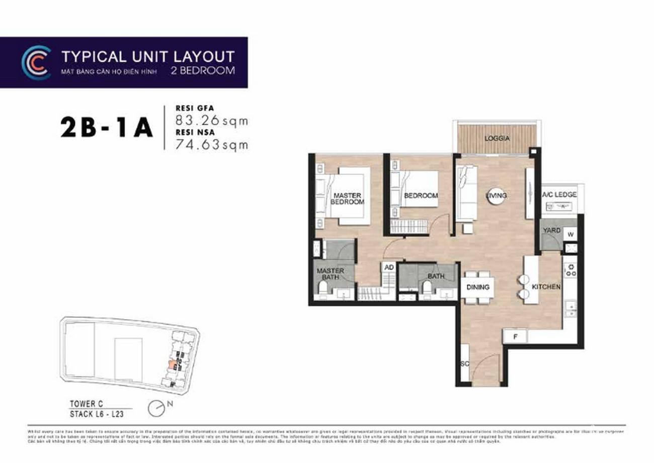 Thiết kế căn hộ 2PN 2B-1A