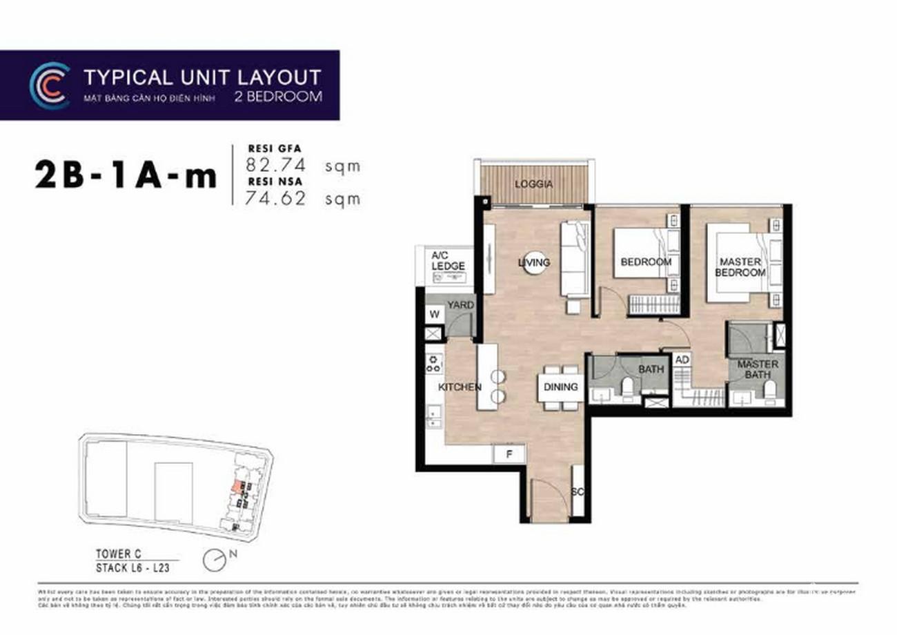 Thiết kế căn hộ 2PN 2B-1A-m