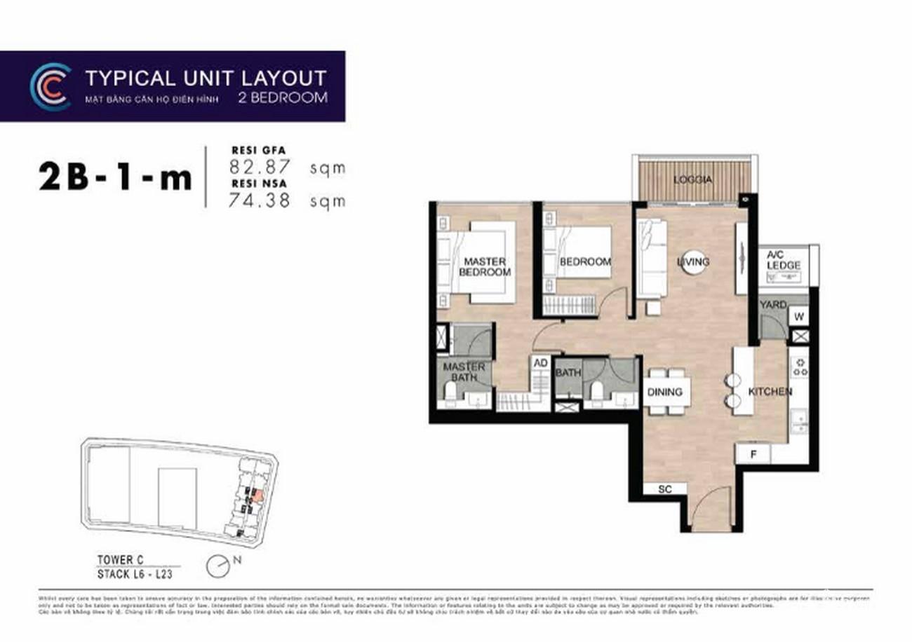 Thiết kế căn hộ 2PN 2B-1A-m 82m2