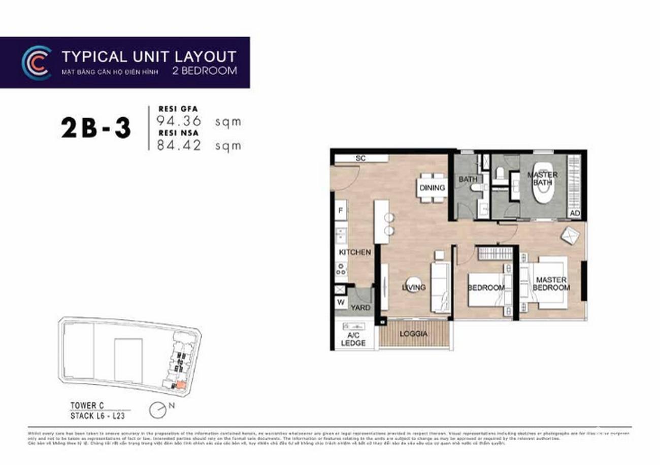 Thiết kế căn hộ 2PN 2B-3