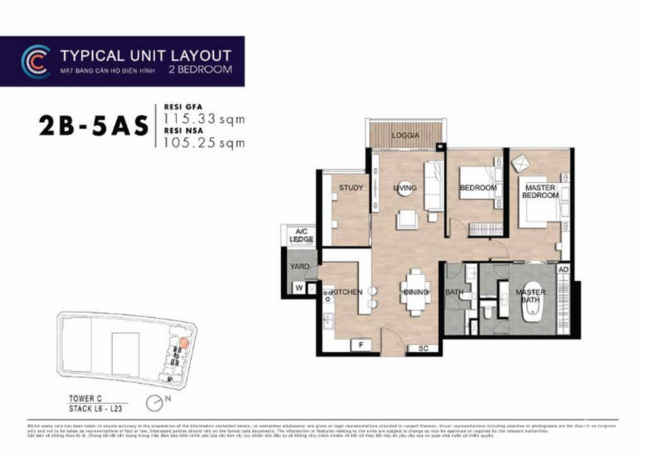 Thiết kế căn hộ 2PN 2B-5AS