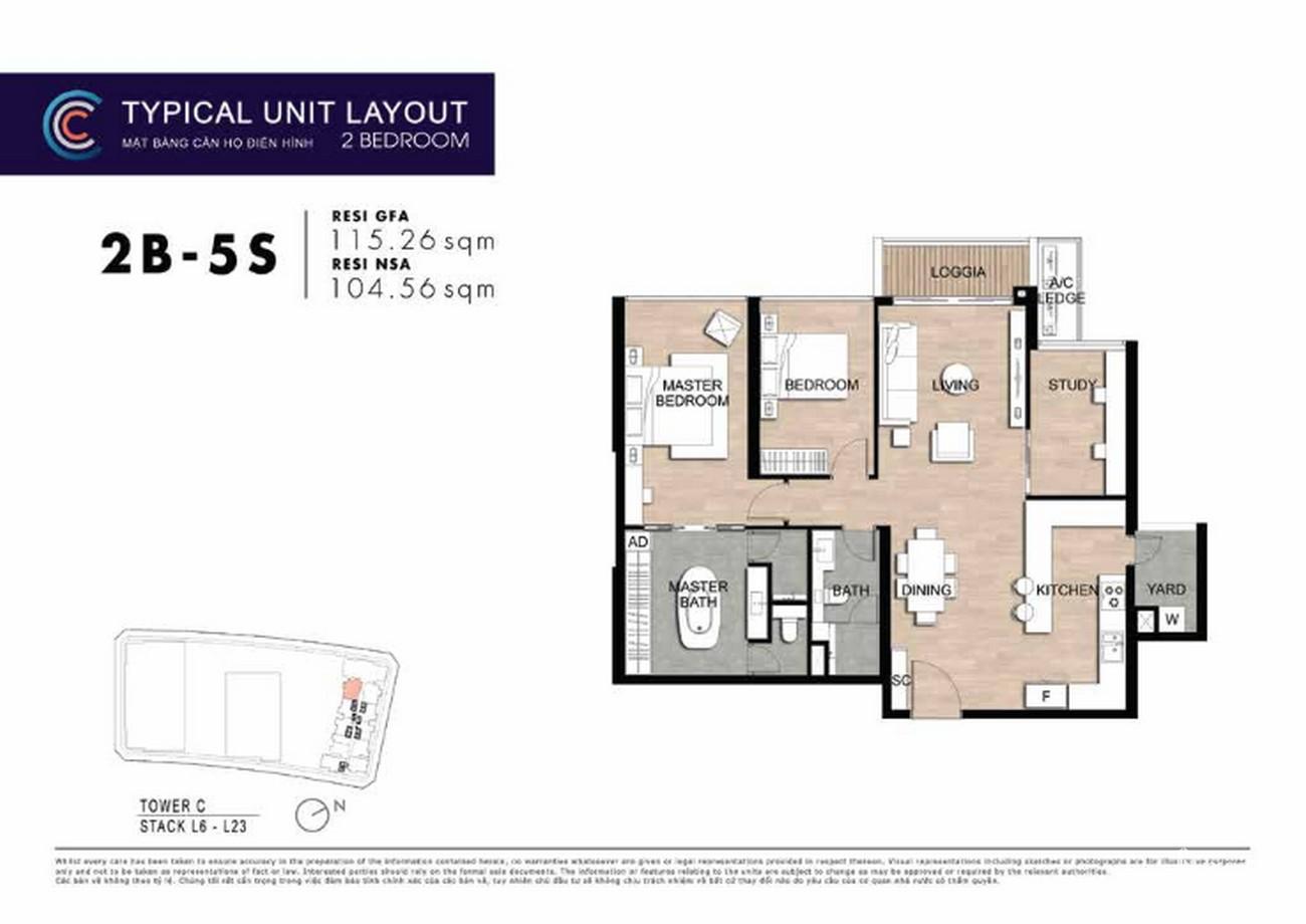 Thiết kế căn hộ 2PN 2B-5s