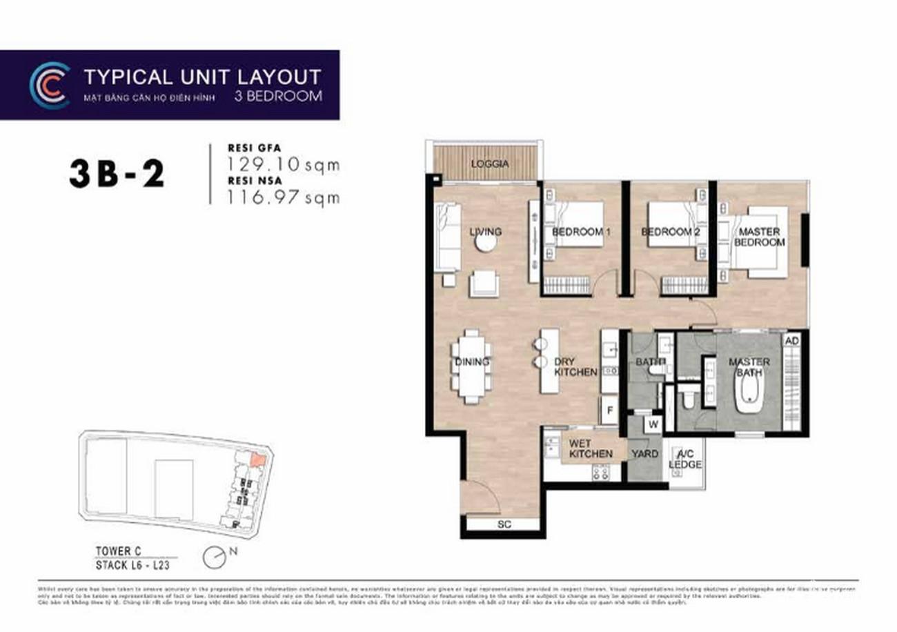 Thiết kế căn hộ 3PN 3B-2