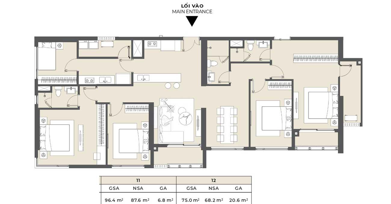Thiết kế chi tiết căn hộ diện tích 210m2 Masterise Grand Marina Quận 1