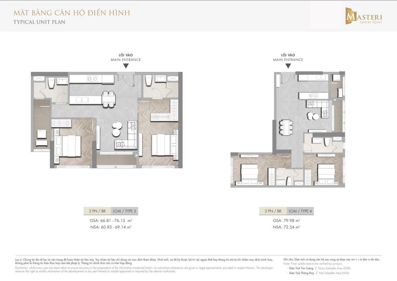 Thiết kế Masteri Centre Point Quận 9 chủ đầu tư Masterise Homes căn hộ 2 phòng ngủ loại 3-4