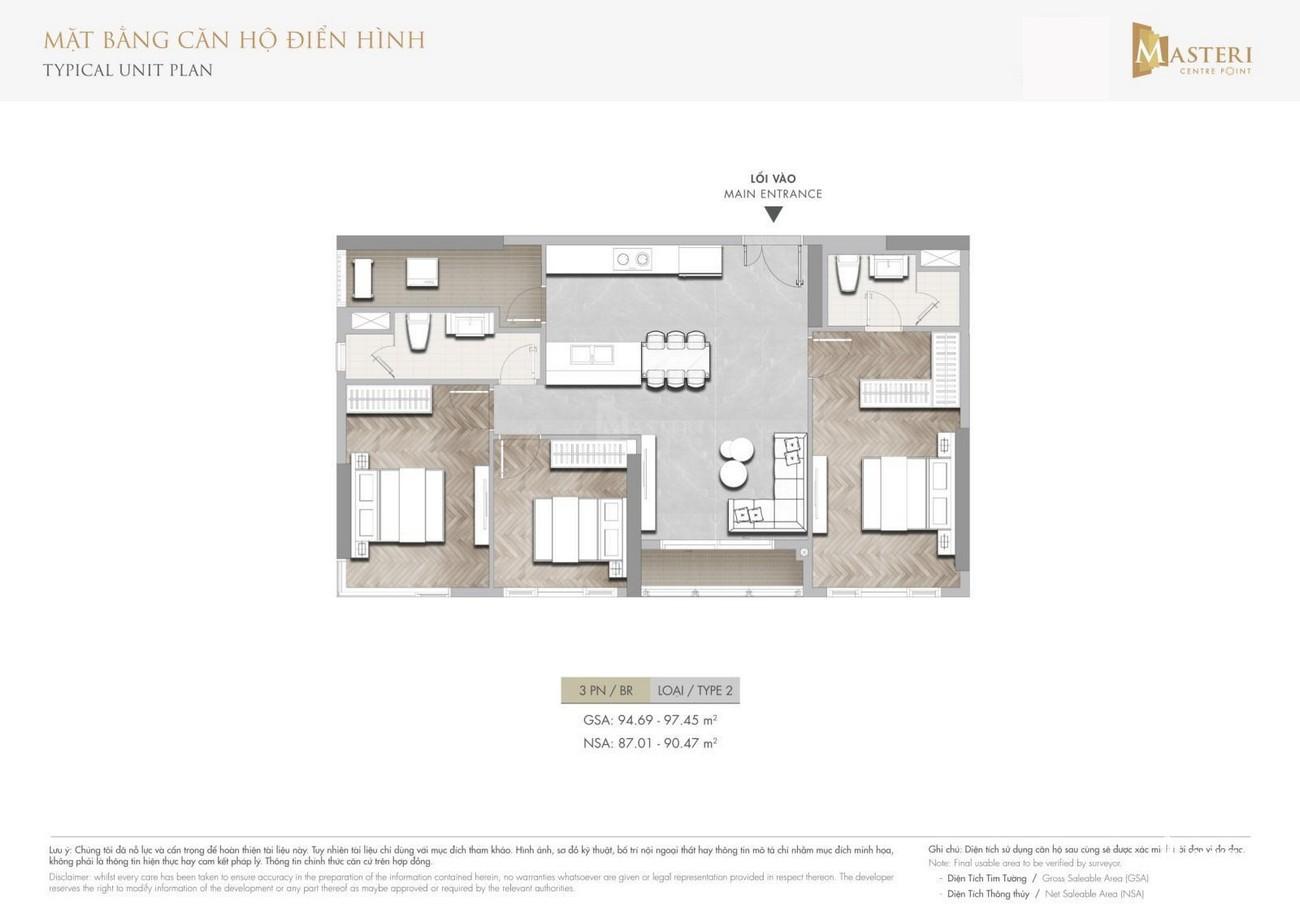 Cập nhật Thiết Kế Masteri Centre Point : Căn Hộ 3 Phòng Ngủ năm 2021 2