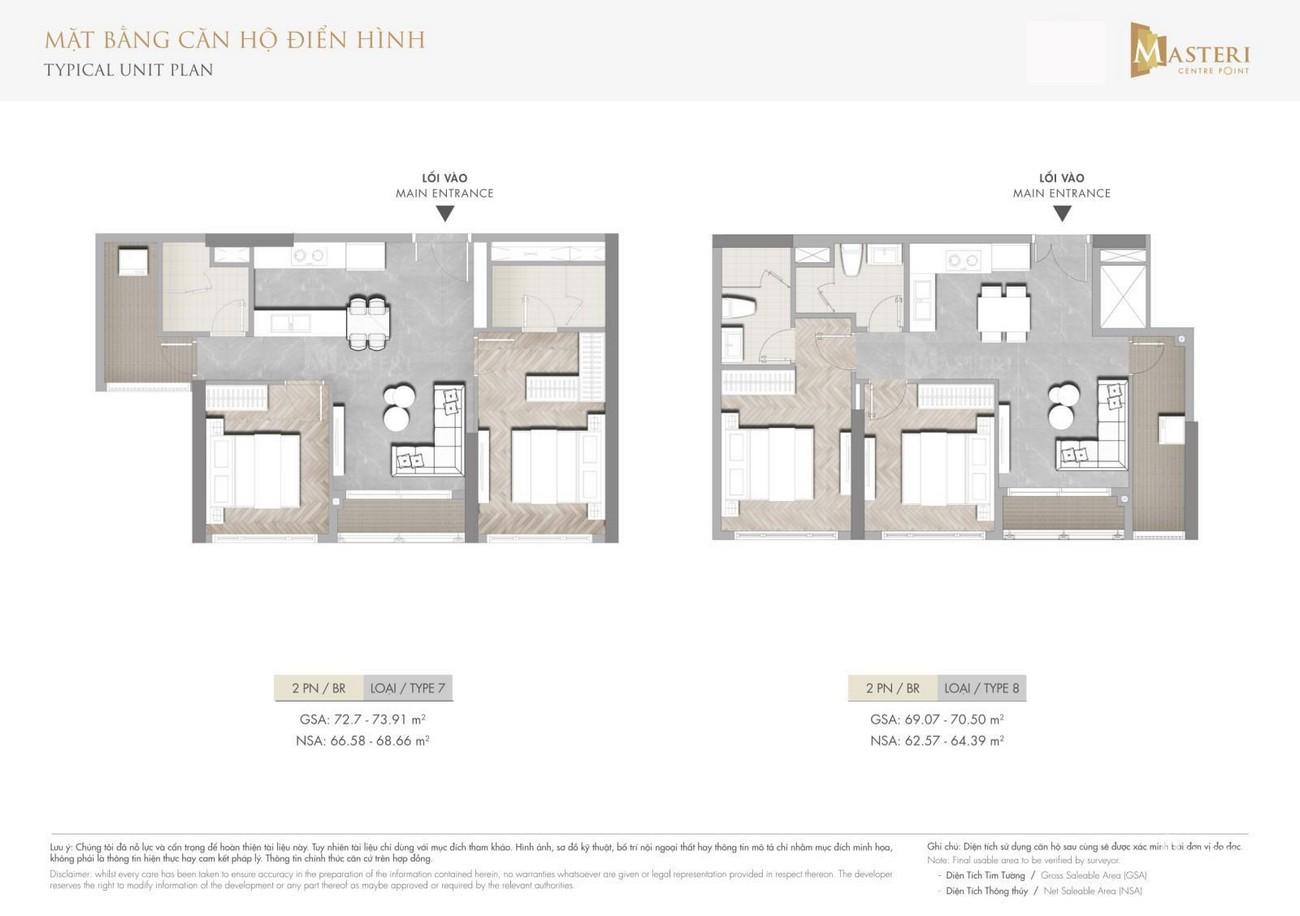 Thiết kế Masteri Centre Point Quận 9 căn hộ 2 phòng ngủ loại 7-8 Đường Nguyễn Xiển chủ đầu tư Masterise Homes