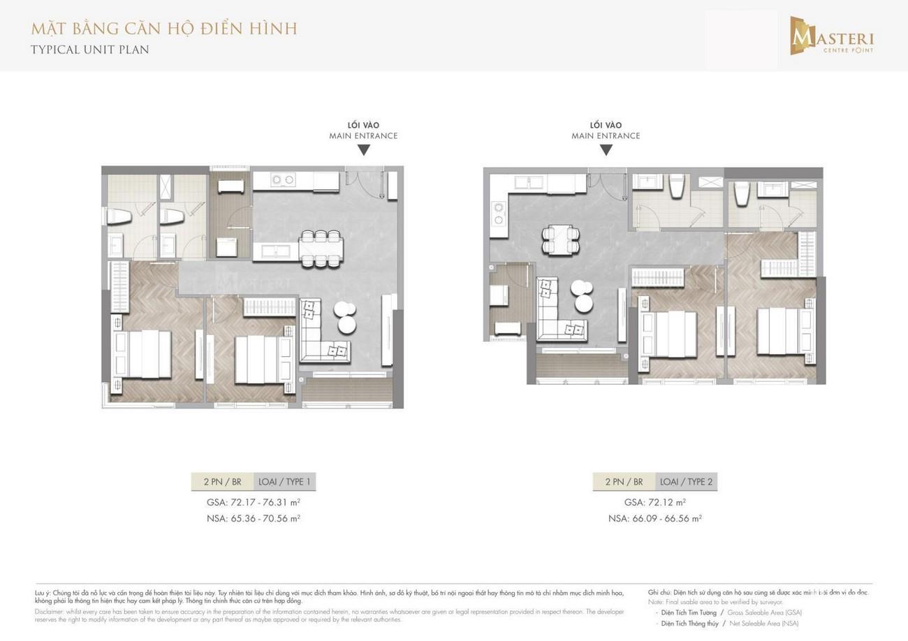 Thiết kế dự án căn hộ <strong>Masteri Centre Point Quận 9</strong> Đường Nguyễn Xiển căn hộ 2 phòng ngủ <strong>loại 1-2</strong>