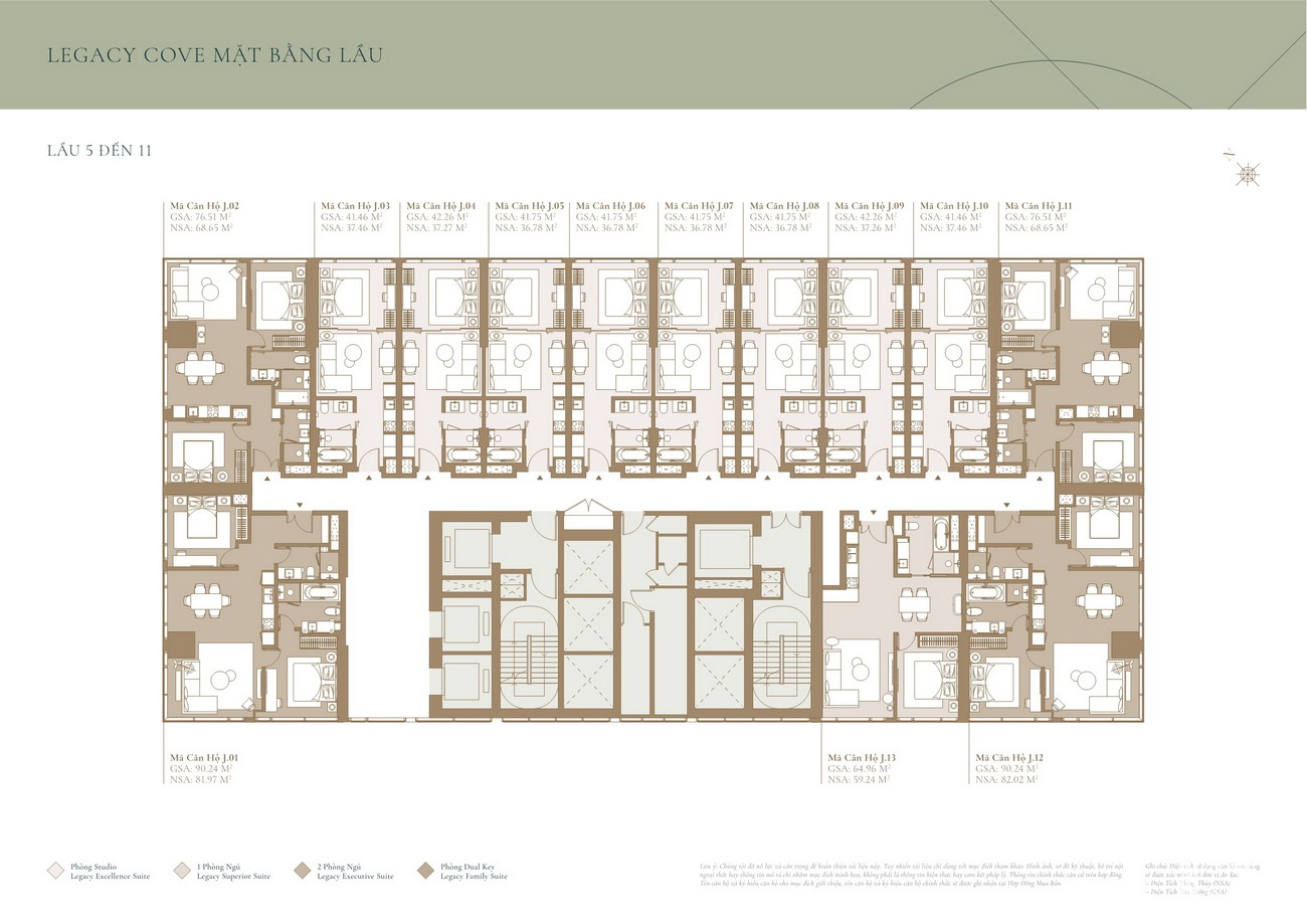 Thiết kế mặt bằng tầng 5-11 tòa tháp COVE dự án Grand Marina Saigon