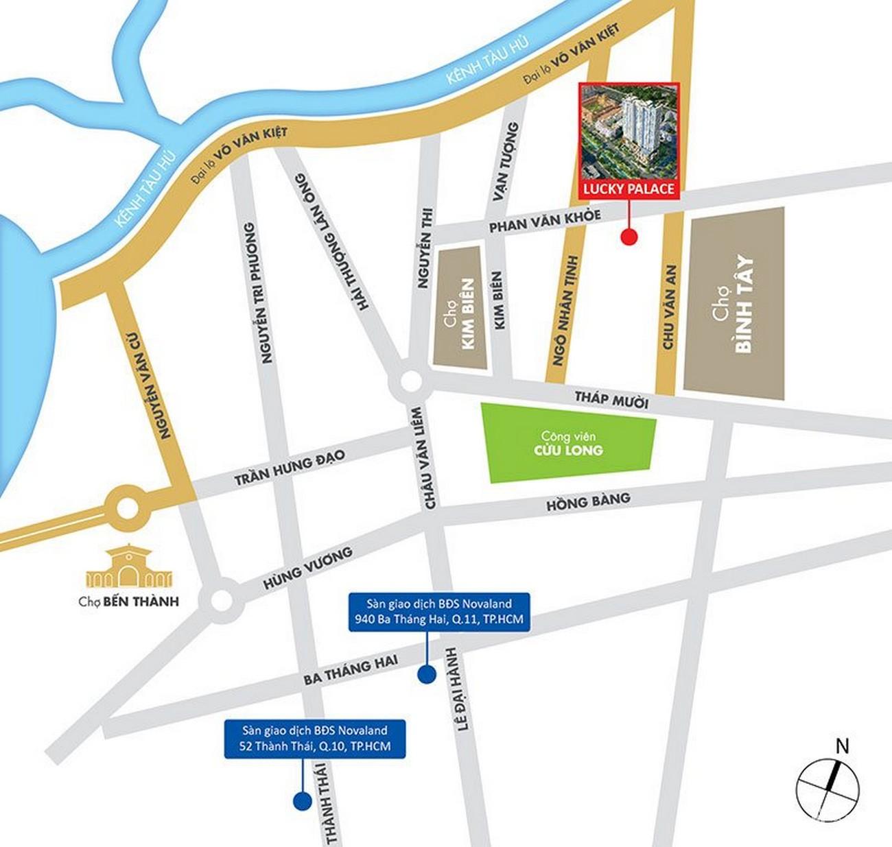 Vị trí địa chỉ dự án căn hộ chung cư Lucky Palace Quận 6 Đường 50 Phan Văn Khỏe chủ đầu tư Novaland