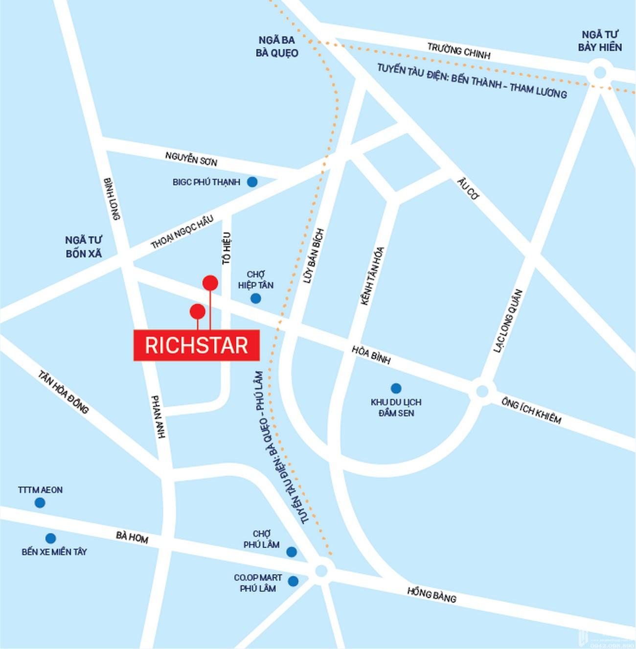 Vị trí địa chỉ dự án căn hộ chung cư RichStar Tân Phú Đường 278 Hòa Bình chủ đầu tư Novaland