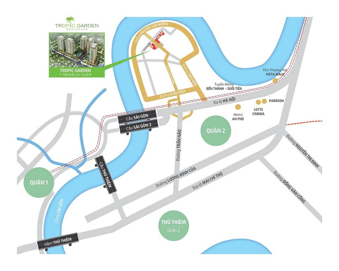 Vị trí địa chỉ dự án căn hộ chung cư Tropic Garden Quận 2 Đường 66 chủ đầu tư Novaland