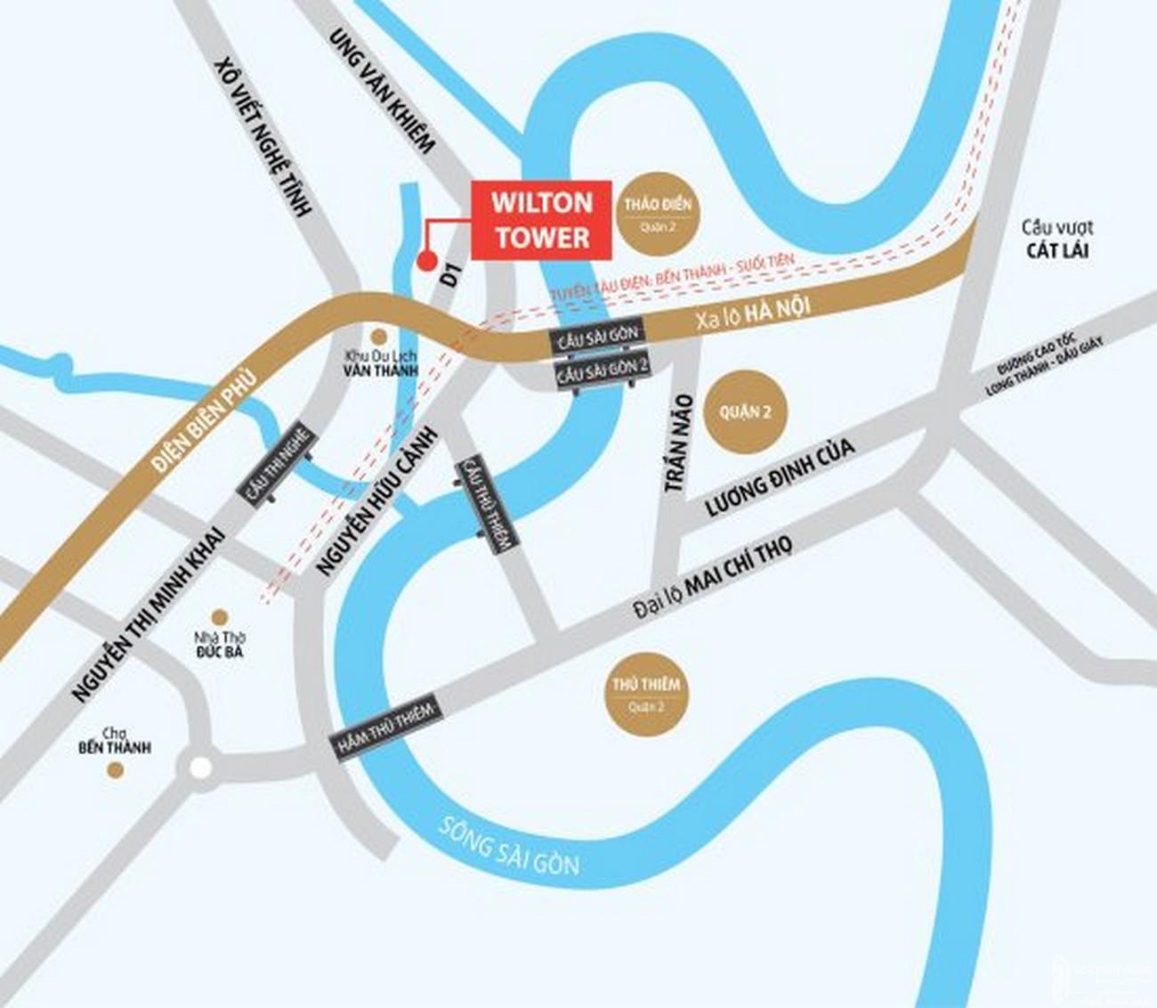 Vị trí địa chỉ dự án căn hộ chung cư Wilton Tower Bình Thạnh Đường 71/3 Nguyễn Văn Thương chủ đầu tư Novaland