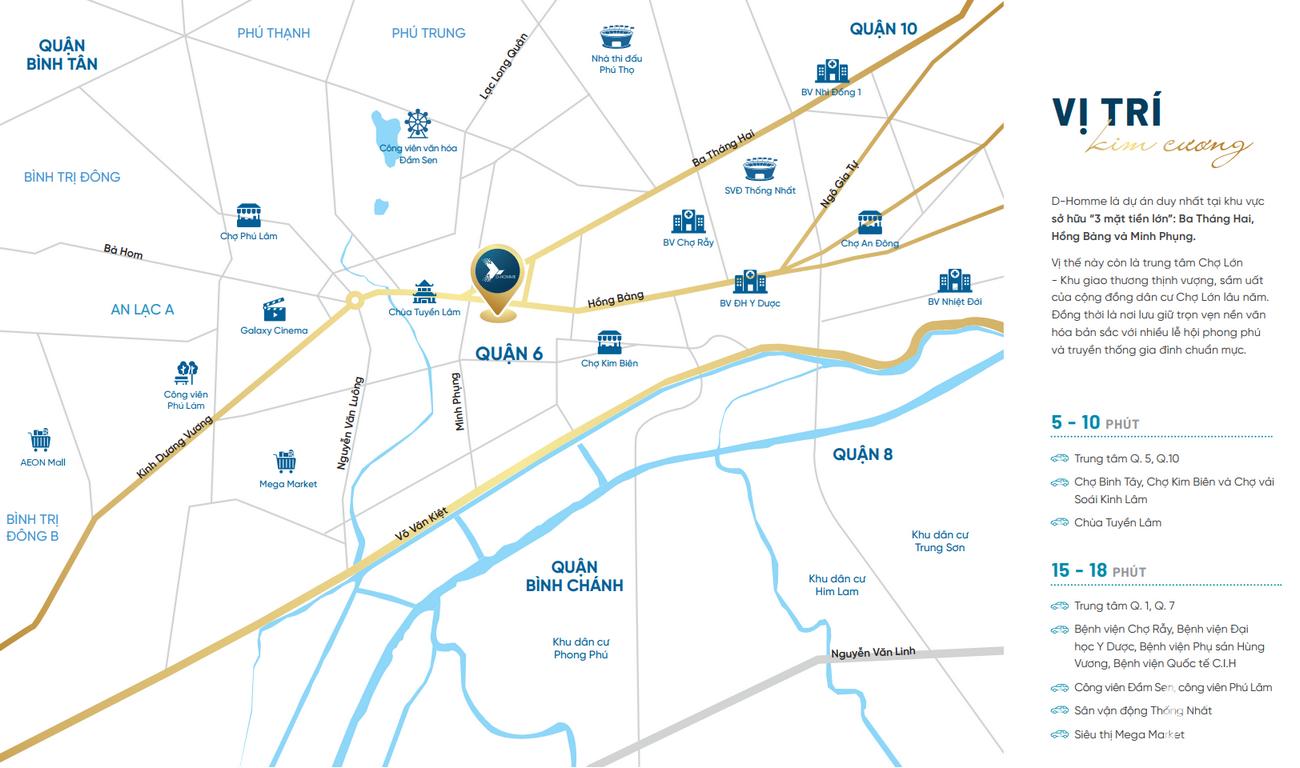 Vị trí địa chỉ dự án căn hộ D Homme Quận 6 Đường Hồng Bàng chủ đầu tư DHA