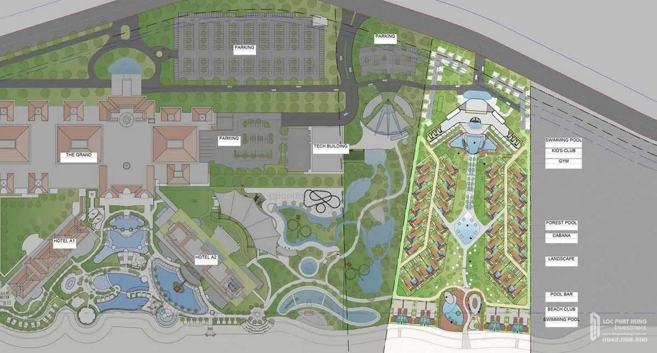 Mặt bằng dự án biệt thự biển chung cư Ixora Hồ Tràm By Fusion Xuyên Mộc Đường Phước Thuận & Bông chủ đầu tư ACDL