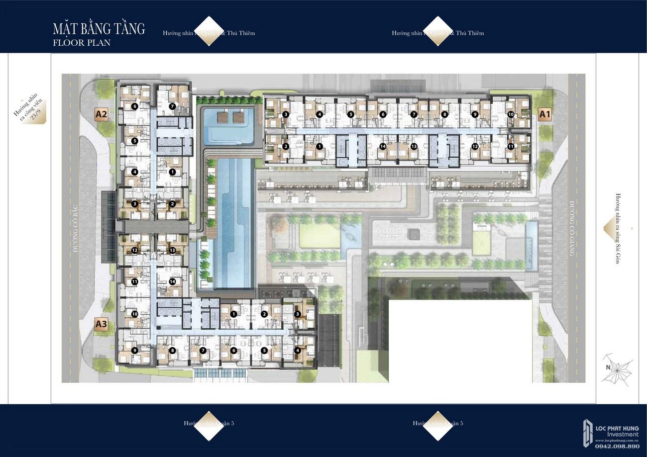 Mặt bằng tổng thể, mặt bằng điển hình dự án Grand Manhattan Quận 01 nhà phát triển Novaland