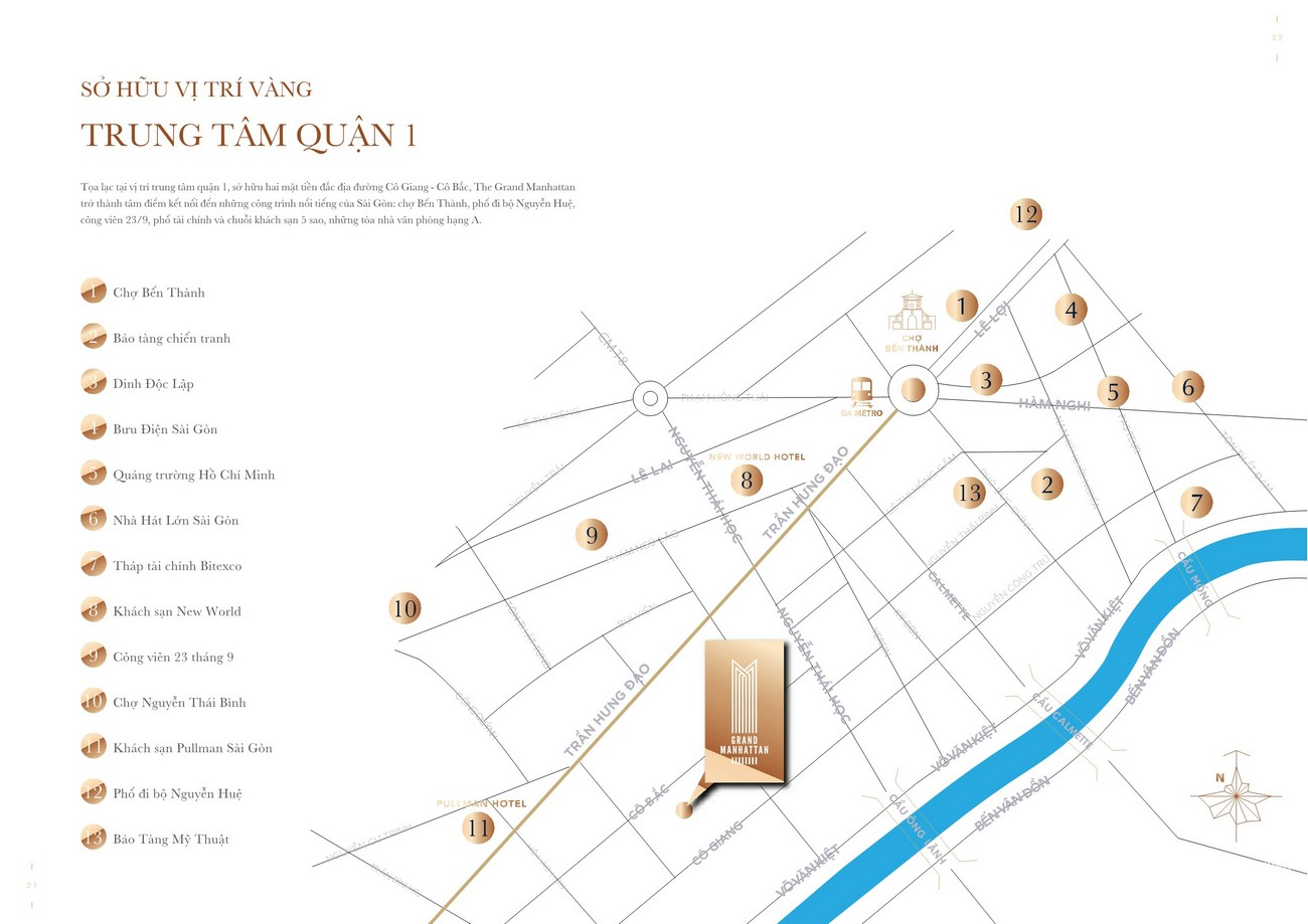 Vị trí địa chỉ dự án căn hộ chung cư The Grand Manhattan Quận 1 Đường 100 Cô Giang chủ đầu tư Novaland