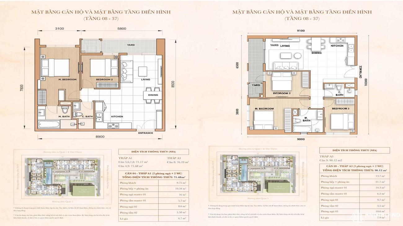 Thiết kế căn 2-3 phòng ngủ The Grand Manhattan Novaland