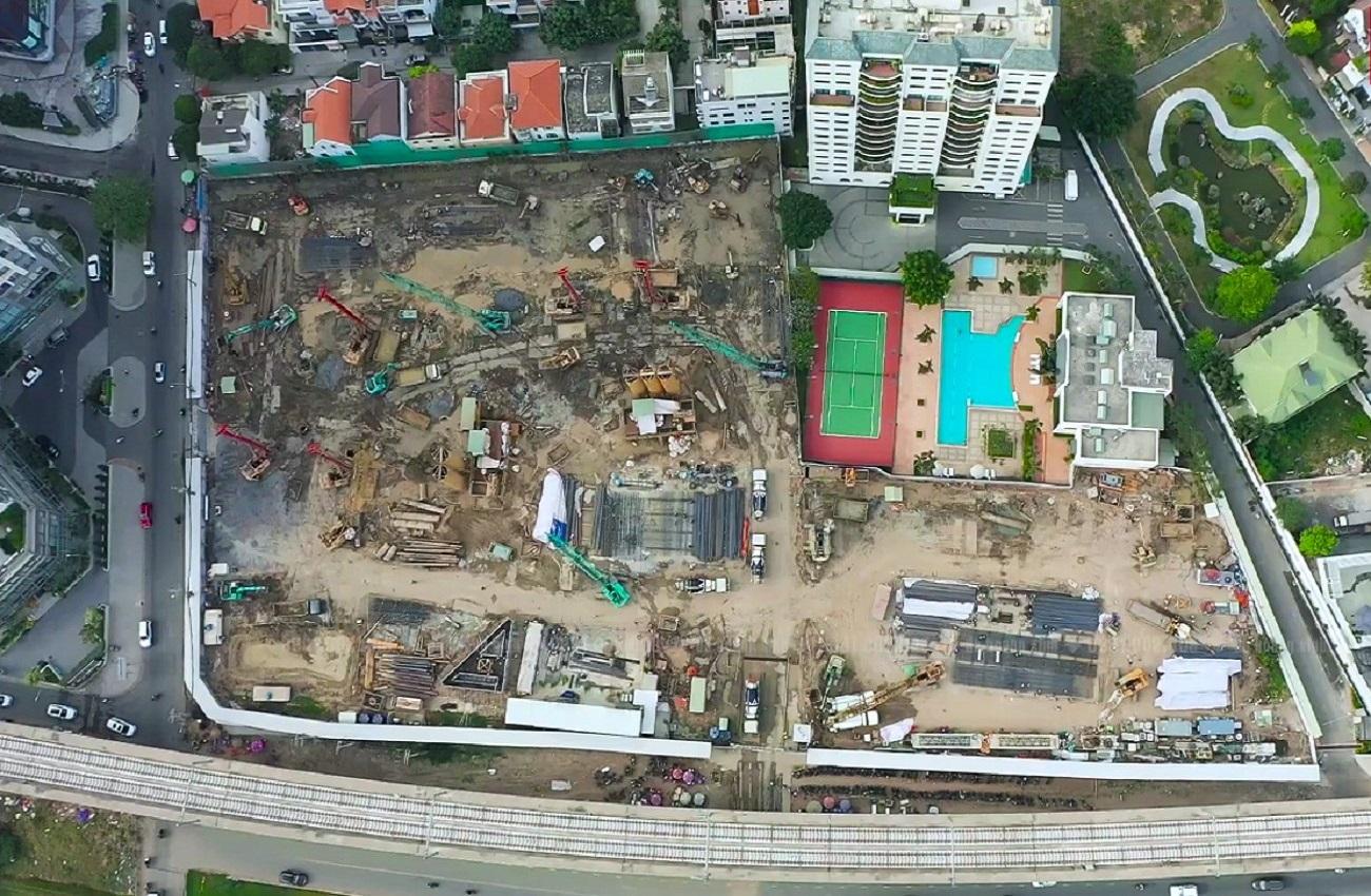 Tiến độ dự án căn hộ chung cư Masteri Lumière Riverside Quận 2 nhìn từ trên cao