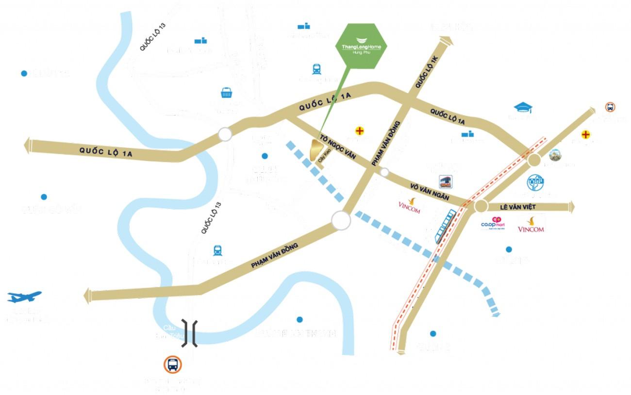 Vị trí địa chỉ dự án căn hộ chung cư Dragon Sky View Thủ Đức Đường Tô Ngọc Vân chủ đầu tư Hưng Phú Investment