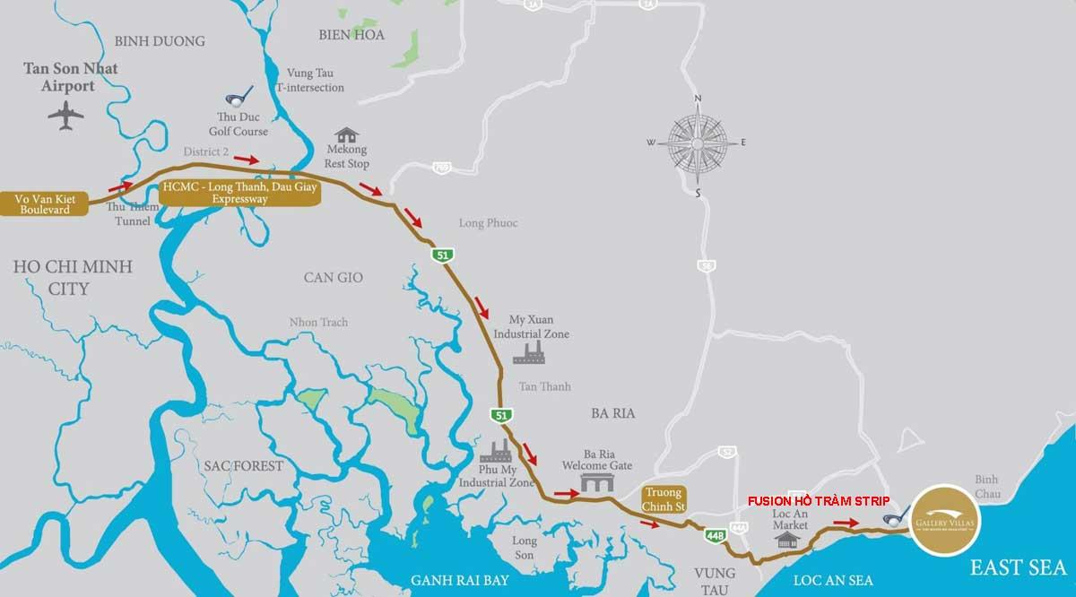 Vị trí dự án liên kết địa chỉ chung cư Ixora Hồ Tràm By Fusion Xuyên Mộc Đường Phước Thuận & Bông chủ đầu tư ACDL