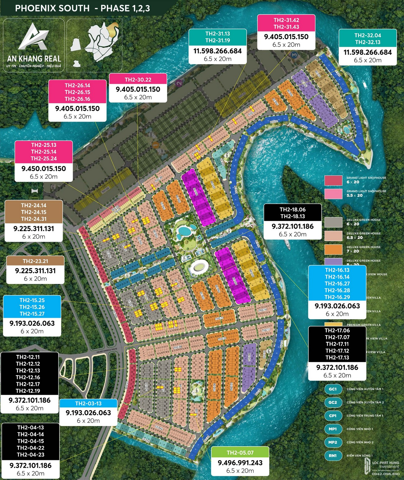 Bảng giá phân khu Phoenix South - dự án Aqua City Đồng Nai