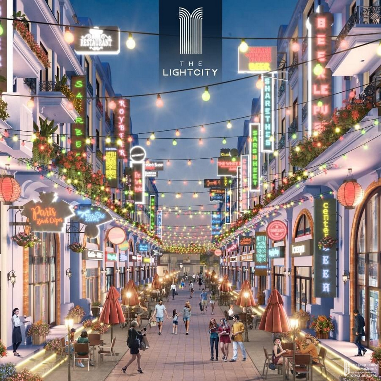 Đại lộ ánh sáng sầm uất dự án The Light City Đồng Xoài chủ đầu tư Thành Phương