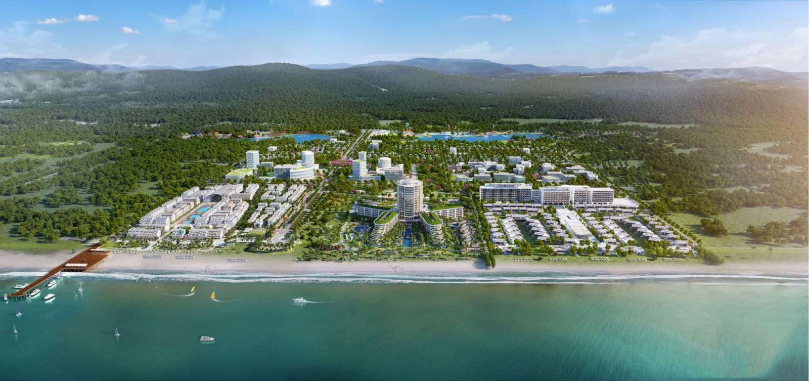 Phối cảnh tổng thể dự án nhà phố Marina Square huyện Phú Quốc Đường Bãi Trường, xã Dương Tơ chủ đầu tư BIM Group