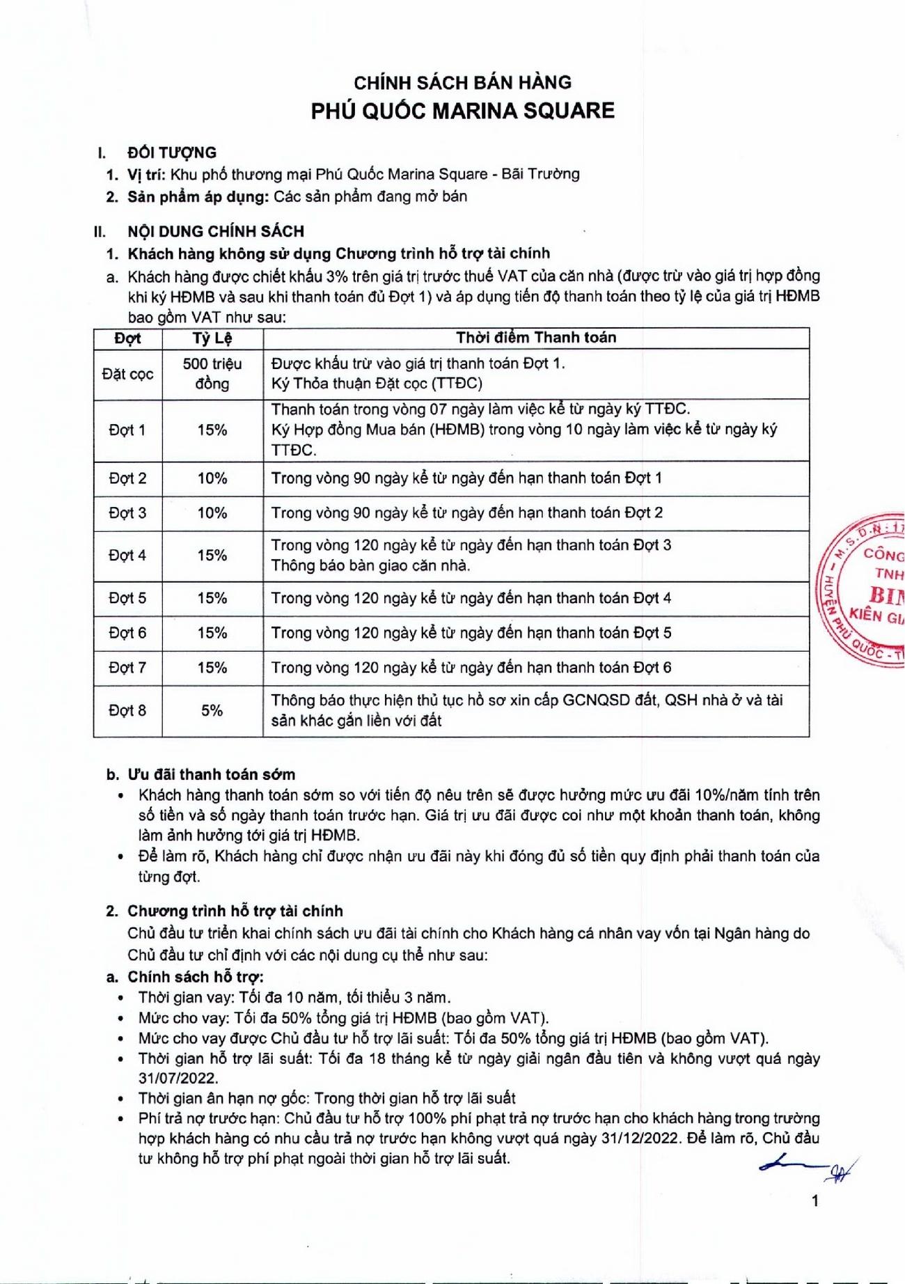 Phương thức thanh toán dự án nhà phố Marina Square huyện Phú Quốc Đường Bãi Trường, xã Dương Tơ chủ đầu tư BIM Group