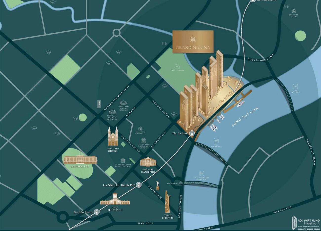 Vị trí địa chỉ dự án căn hộ chung cư Grand Marina Saigon Quận 1 Đường Nguyễn Hữu Cảnh chủ đầu tư Masterise Homes