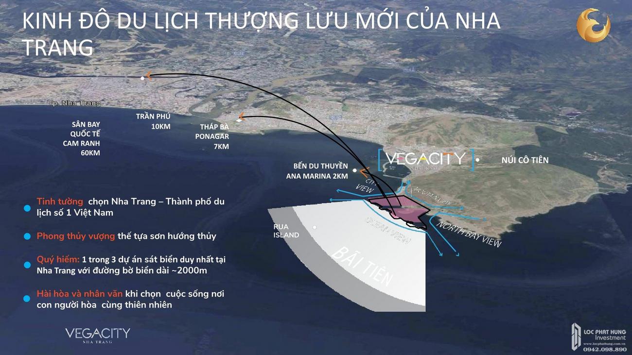 Vị trí địa chỉ dự án Biệt thự, nhà phố Vega City Bãi Tiên Nha Trang chủ đầu tư KDI Holdings